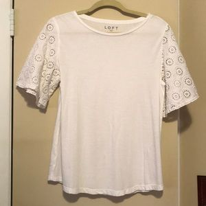 The Loft white tshirt with bell sleeves